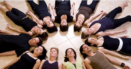 Group of people lying down